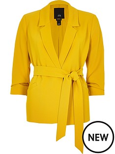 ri-petite-belted-blazer-yellow