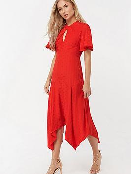 monsoon-beatrice-bee-jacquard-hanky-hem-dress-red