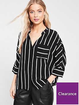 river-island-river-island-striped-button-front-blouse-black