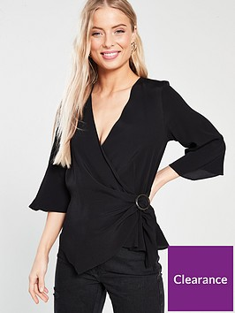 river-island-river-island-woven-buckle-wrap-blouse-black