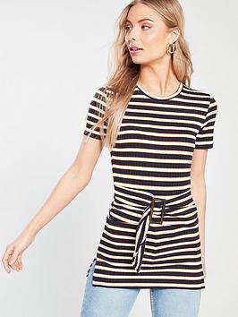 river-island-river-island-stripe-jersey-belted-top-cream