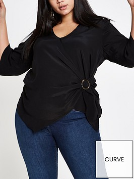 ri-plus-buckle-wrap-blouse-black