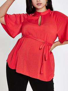 ri-plus-flute-sleeve-blouse-red
