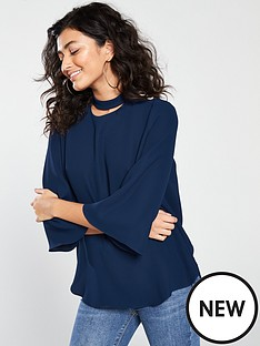 river-island-button-detail-blouse-navy