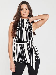 river-island-river-island-high-neck-woven-top--black-stripe