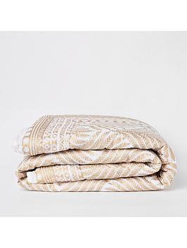 river-island-white-and-gold-leaf-print-100-cotton-bedspread-throw