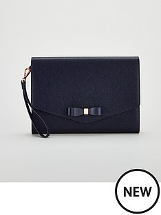 Ted Baker Ted Baker Krystan Bow Leather Envelope Pouch 8d60f03d3b
