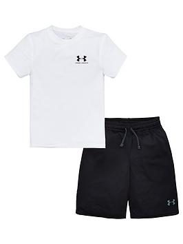 under-armour-boys-2-pack-t-shirt-and-shorts-set-blackwhite