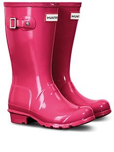 hunter-original-kids-gloss-wellington-boots-bright-pink