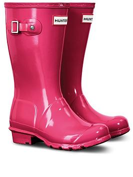 Hunter Hunter Original Kids Gloss Wellington Boots - Bright Pink Picture