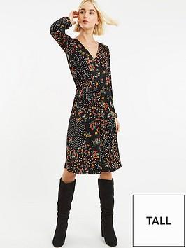 ce675273e2c3 Oasis Oasis Ditsy Spot Button Detail Jersey Skater Dress - Longer Length