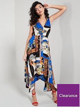 ax-paris-scarf-printed-asymmetricnbsphem-dress-blue