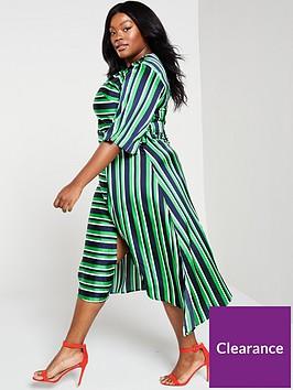 ax-paris-curve-striped-tie-midi-dress-green