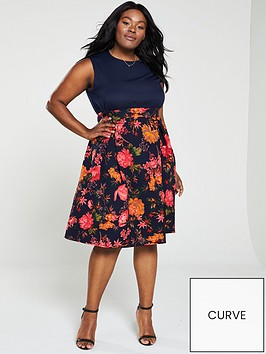 ax-paris-curve-2-in-1-floral-print-skirt-dress-navy