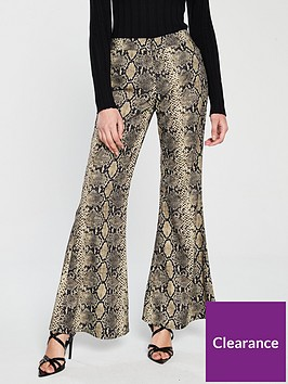 ax-paris-snake-print-flare-trousers-multi