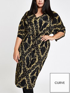 ri-plus-chain-print-plisse-dress-black