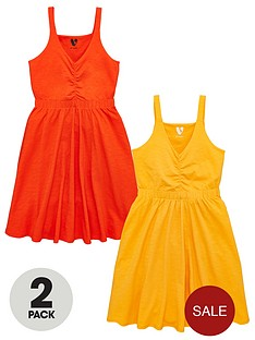 v-by-very-girls-2-pack-ruched-front-dressesnbsp--multi