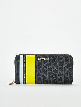 calvin-klein-monogram-large-ziparound-purse-black-monolime