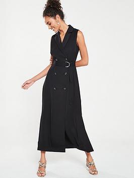 karen-millen-soft-belted-tux-dress-black