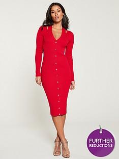 karen-millen-cut-out-popper-rib-knit-dress-red