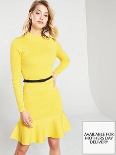 karen-millen-belted-flippy-knitted-rib-dress-yellow