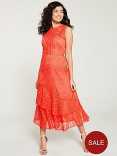 karen-millen-tiered-ruffle-lace-dress-coral