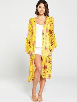 v-by-very-printed-chiffon-bell-sleeve-kimono--yellowfloral