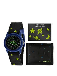 tikkers-tikkers-black-and-glow-in-the-dark-green-dial-space-theme-watch-wallet-and-stickers-gift-set