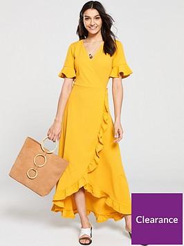 v-by-very-ruffled-wrap-front-maxi-dress-mustard