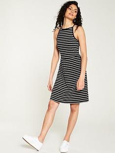 70c28d1a995b V by Very Halter Rib Skater Dress - Black Stripe