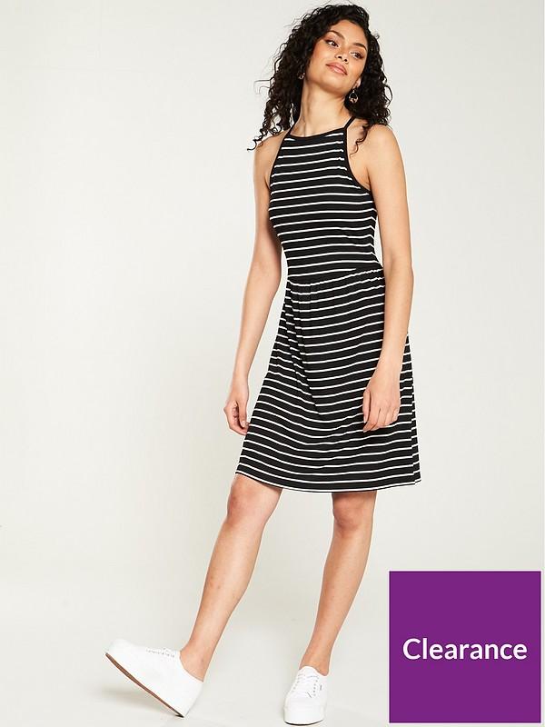 V By Very Halter Rib Skater Dress Black Stripe Littlewoods Com