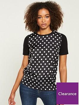 v-by-very-woven-panel-t-shirt-polka-dot