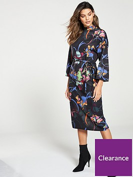 v-by-very-high-neck-wide-sleeve-dress-print