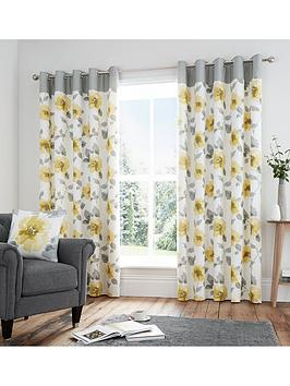 Very Adriana Lined 100% Cotton Eyelet Curtains Picture