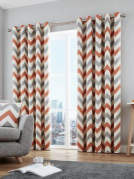 Fusion Fusion Chevron 100% Cotton Lined Eyelet Curtains Picture