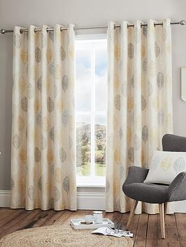 Very Scandi Leaf Lined Eyelet Curtains Picture