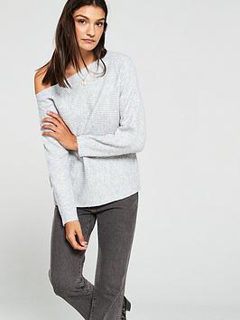 v-by-very-off-the-shoulder-horizontal-rib-jumper-grey-marl