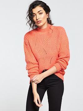 v-by-very-stitch-detail-turtleneck-blouson-sleeve-jumper-rose-red