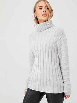 v-by-very-bobble-stitch-sleeve-roll-neck-rib-jumper-grey-marl