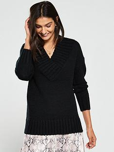 v-by-very-crossover-deep-v-neck-slouch-jumper-black