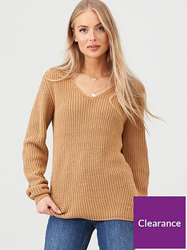 v-by-very-v-neck-engineered-rib-slouch-longline-jumper-camel