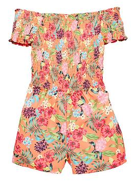 v-by-very-girls-floral-shirred-playsuitnbsp--multi