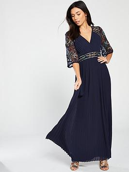 frock-and-frill-embroidered-maxi-dress-with-pleat-skirt-navy