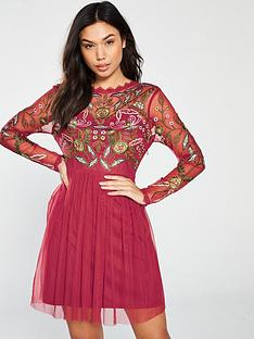 5d093a773944d Frock and Frill Gale Long Sleeve Embroidered Skater Dress - Raspberry