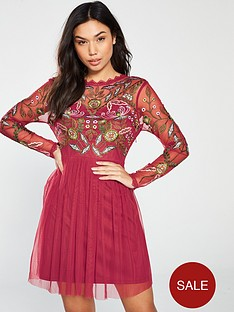 frock-and-frill-gale-long-sleeve-embroidered-skater-dress-raspberry