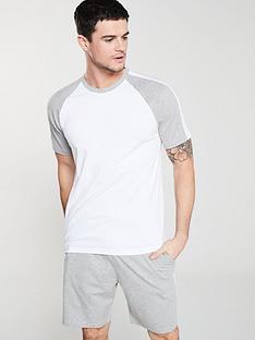 v-by-very-raglan-t-shirtnbspand-side-stripe-shorts-pyjama-set-greywhite