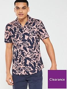 v-by-very-short-sleeved-leaf-print-shirt-pinknavy