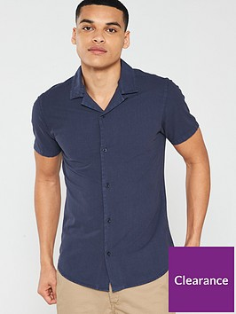 v-by-very-linen-look-cuban-collar-shirt-navy