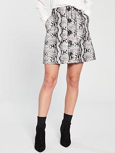 warehouse-snake-pu-pocket-skirt-multi