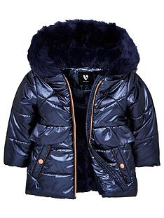 v-by-very-girls-padded-frill-faux-fur-hooded-coat-navy